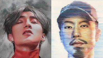 Chàng trai Gia Lai vẽ tranh chân dung bằng compa, chỉ, nam châm