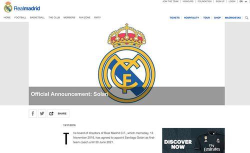 Real ký hợp đồng chính thức 3 năm với HLV Solari