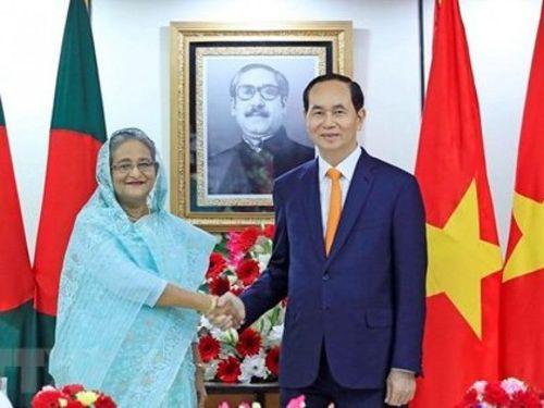Chủ tịch nước Trần Đại Quang hội đàm với Thủ tướng Bangladesh