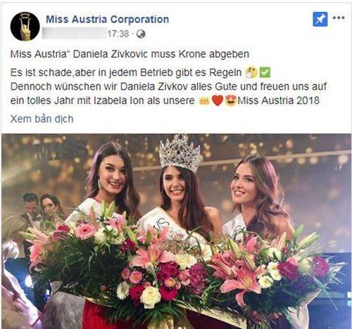 Nguyên nhân đối thủ của Tiểu Vy bị tước vương miện trước thềm Hoa hậu Thế giới 2018