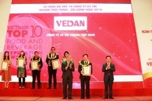 Vedan được vinh danh tốp 10 công ty uy tín ngành thực phẩm-đồ uống năm 2018