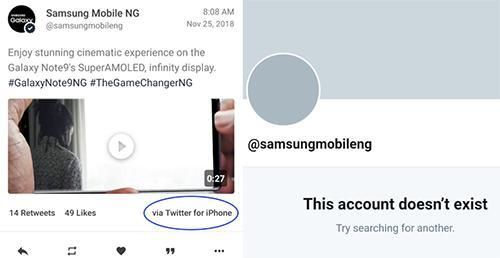 Twitter Samsung thản nhiên đăng bài bằng iPhone tới 2 lần