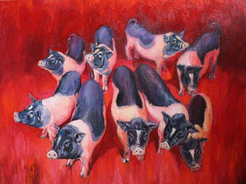 Ngắm 'đàn lợn' trong Triển lãm tranh Tết Kỷ Hợi