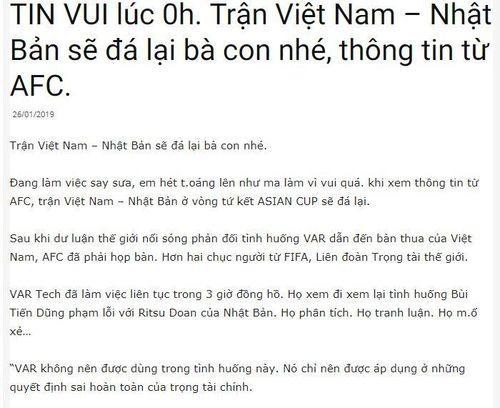 Sự thật thông tin trận Việt Nam - Nhật Bản đá lại vào ngày 29/2