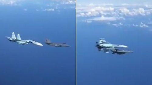 Khoảnh khắc Su-27 Nga tạt đầu, chặn máy bay F-15