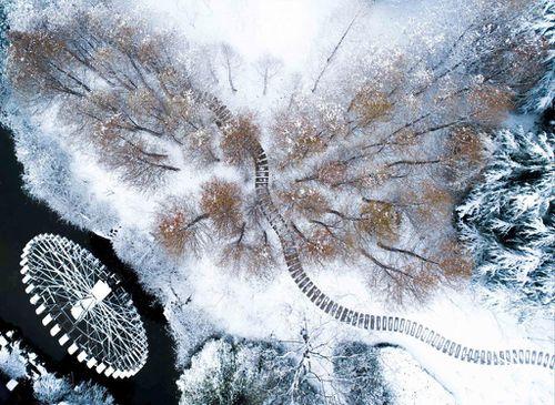 Khung cảnh mùa xuân lạnh giá, tuyết phủ trắng trời ở Trung Quốc