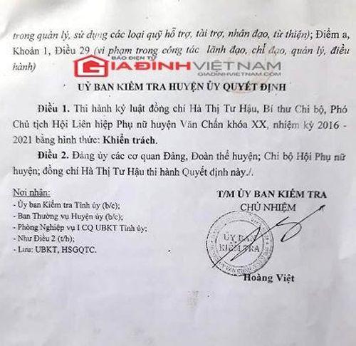 Sai phạm tại Hội LHPN Văn Chấn (Yên Bái), người đứng đầu chỉ bị kỷ luật cảnh cáo