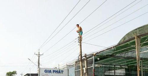 Nam thanh niên nghi ngáo đá leo lên trụ điện ngồi không chịu xuống
