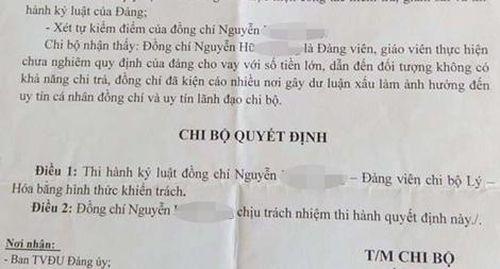 Thầy giáo bị kỷ luật vì vi phạm quy định của Đảng