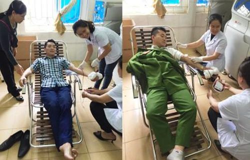 Hai chiến sĩ công an hiến máu cứu thai phụ