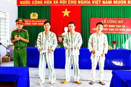 Trại tạm giam, Công an tỉnh: Công bố quyết định tha tù trước thời hạn cho 3 phạm nhân