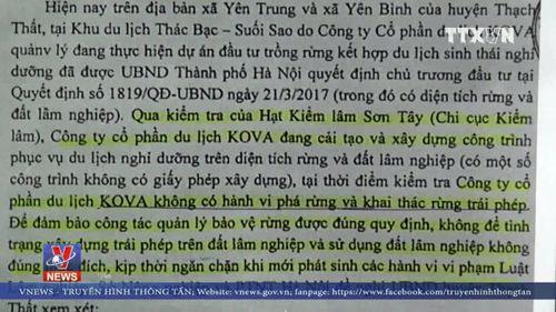 Hà Nội yêu cầu làm rõ thông tin việc xây dựng trên đất rừng tại huyện Thạch Thất