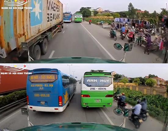 Hai xe khách dừng đỗ trên QL5 gây ùn tắc giao thông