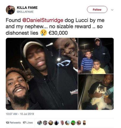 Cựu sao Liverpool bị tố thất hứa khi tìm được chó cưng