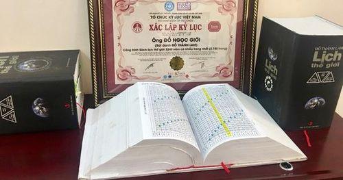 Trao Kỷ lục Việt Nam cho Sách lịch Thế giới 3240 năm