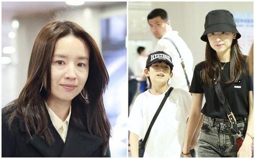 'Ngọc nữ' Đổng Khiết lộ ảnh già nua, phờ phạc khi xuất hiện cùng con trai ở sân bay