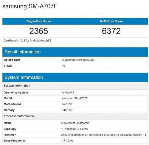 Samsung Galaxy A70s xuất hiện trên Geekbench