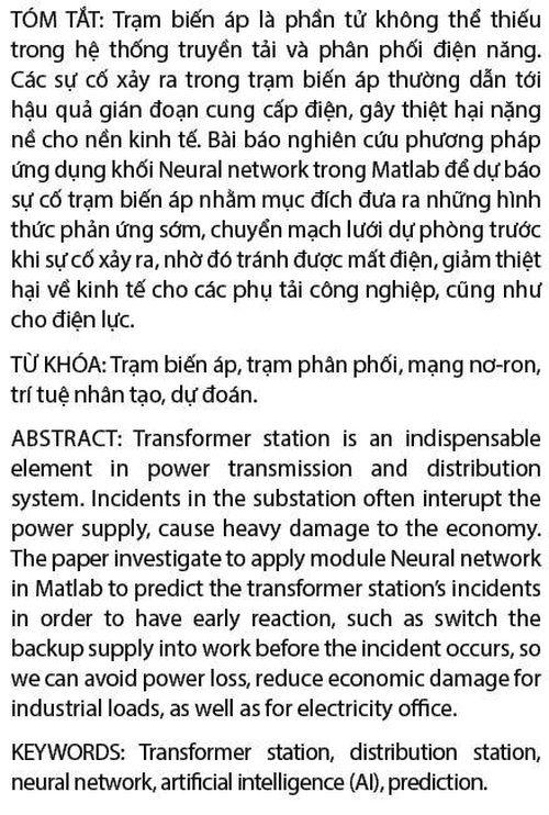 Ứng dụng mô-đun Matlab Neural network trong cảnh báo sớm sự cố trạm biến áp