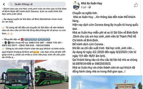 Nhà xe Bình Định chở miễn phí sinh viên về quê tránh lây lan dịch nCoV