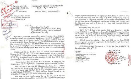 Kiên Giang: UBND TP. Rạch Giá phúc đáp thông tin phản ánh trên Báo Công lý