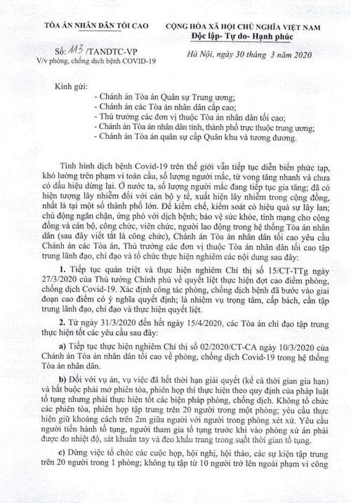 Ngành tòa án tiếp tục dừng các phiên tòa còn thời hạn đến 15/4
