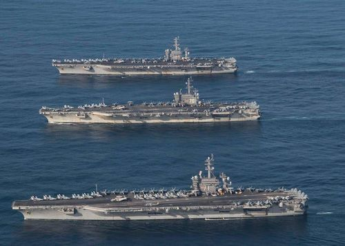 Ba tàu sân bay Mỹ tuần tra Ấn Độ Dương - Thái Bình Dương