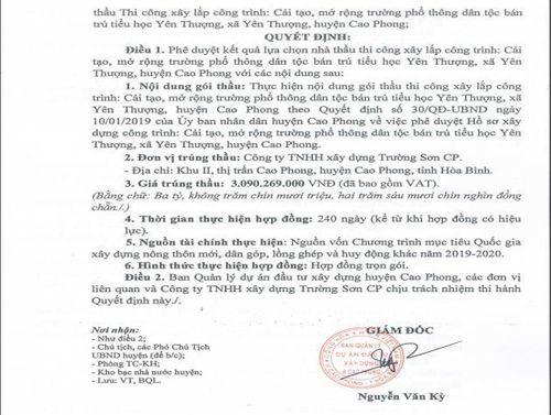 Cao Phong (Hòa Bình): Công ty Trường Sơn CP được ưu ái trúng thầu dù chất lượng thi công có vấn đề