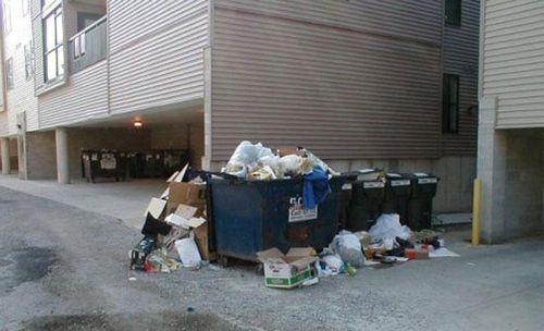Bãi rác nhếch nhác gần khu chung cư hiện đại