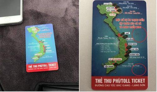 Thẻ thu phí cao tốc Bắc Giang – Lạng Sơn không có quần đảo Hoàng Sa, Trường Sa?
