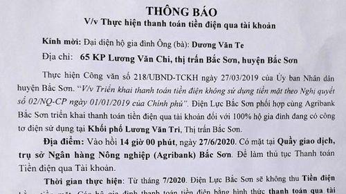 Bắc Sơn, Lạng Sơn: Ép dân nộp tiền điện qua thẻ ngân hàng?
