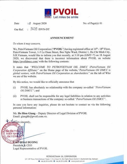PVOIL thông báo thông tin không đúng về PVOIL trên trang mạng liên quan đến công ty 'PETROVIETNAM OIL DMCC'