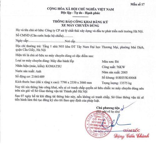 Công ty Xử lý chất thải và Môi trường Hà Nội: Thông báo công khai thông tin đăng ký xe máy chuyên dụng