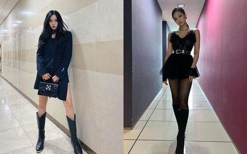 Instagram sao Hàn tuần qua: Jennie (Black Pink), Hyomin (T-ara) so kè phong cách khi cùng chọn diện đồ đen cá tính