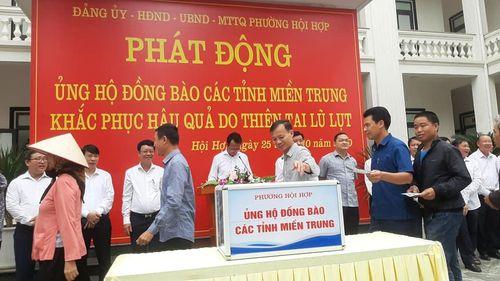 Phường Hội Hợp, TP Vĩnh Yên góp hơn 450 triệu đồng ủng hộ đồng bào miền Trung