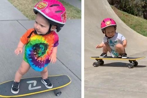 Bé 13 tháng tuổi gây kinh ngạc khi sở hữu kỹ năng trượt ván điêu luyện