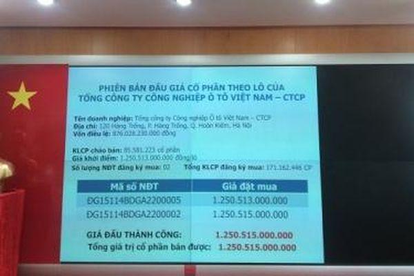 Thu về hơn 1.250 tỷ đồng từ phiên bán đấu giá Vinamotor