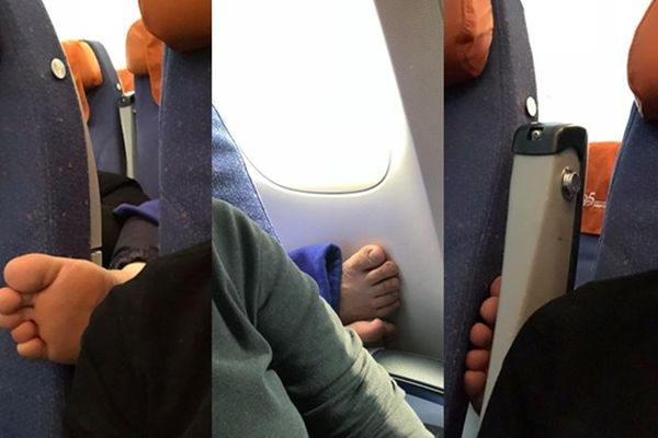 Cô gái trẻ bức xúc vì gặp hành khách vô ý thò chân lên phía trước khi đi máy bay, nhắc đi nhắc lại vẫn trơ mặt
