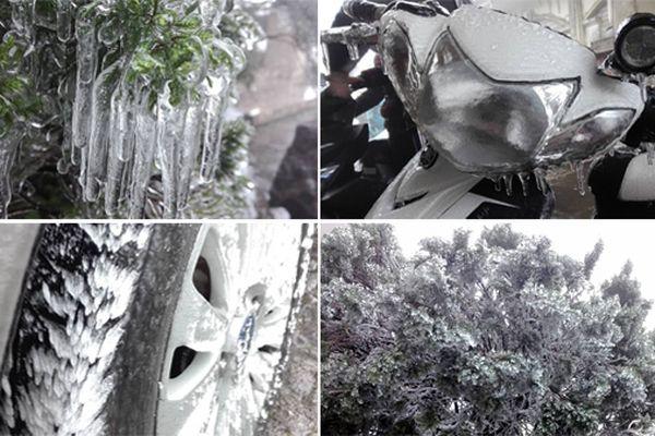 Mẫu Sơn âm 0,5 độ C, băng tuyết phủ kín ô tô