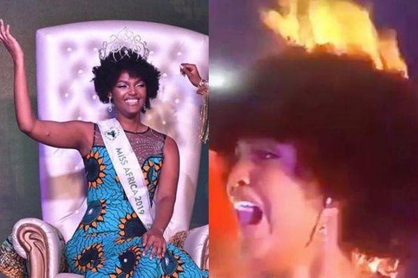Thời trang sành điệu của Hoa hậu châu Phi vừa bị lửa bén cháy tóc
