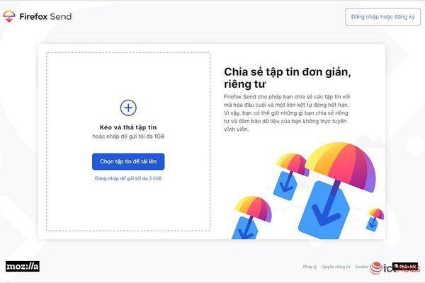 Mozilla chính thức ra mắt dịch vụ chia sẻ tập tin riêng tư cho tất cả người dùng