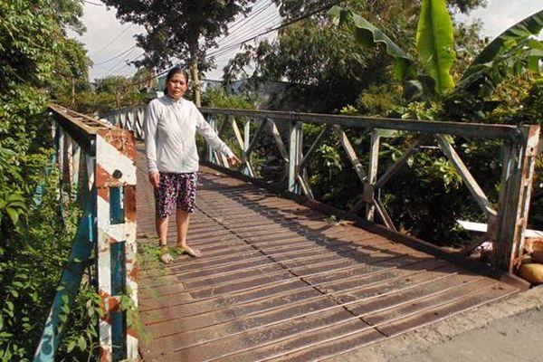 Cầu Cái Da phường 4, TP.Cao Lãnh bị hư hỏng xuống cấp
