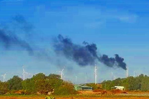 Cháy tuabin điện gió tại Bình Thuận