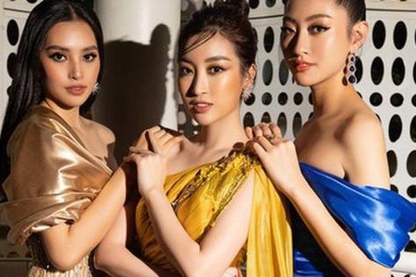 3 nàng Hậu Mỹ Linh - Tiểu Vy - Thùy Linh diện váy xẻ 'thót tim', khoe nhan sắc đỉnh cao trong một khuôn hình