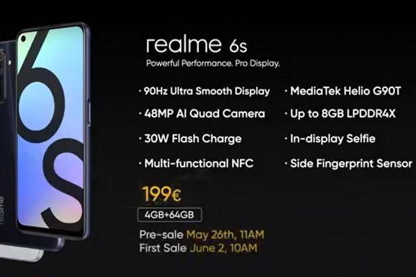 Realme 6s ra mắt: màn hình 90Hz, Helio G90T, giá 218 USD