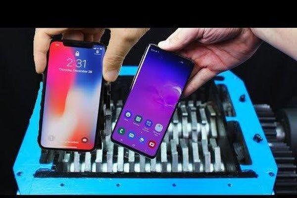 Clip: Dùng máy nghiền, nghiền nát điện thoại Apple và Samsung