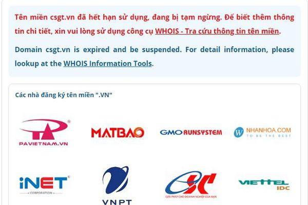 Website Cục Cảnh sát Giao thông dừng hoạt động báo hết hạn sử dụng