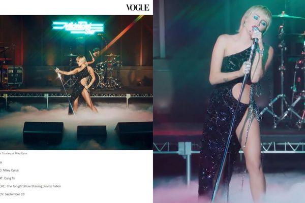 Váy Công Trí mà Miley Cyrus mặc lọt top 10 trang phục đẹp nhất trên Vogue Mỹ
