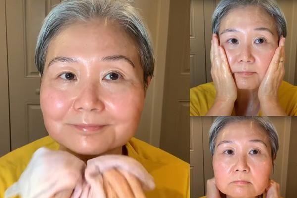Quý bà 60 tuổi hướng dẫn cách massage chống lão hóa da mặt