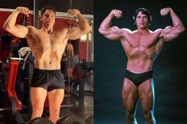Con trai tái hiện hình ảnh Arnold Schwarzenegger 53 năm trước