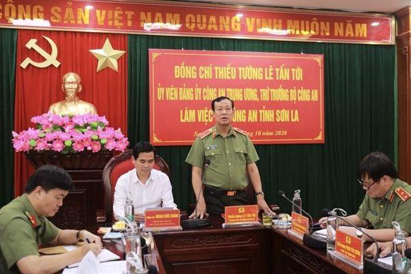 Thứ trưởng Lê Tấn Tới làm việc tại Công an tỉnh Sơn La